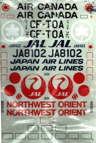 Microscale Decals 1:144 Boeing 747 Air Canada JAL Northwest Orient #44-3 N/A ATP_Decal