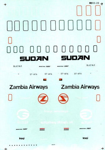 Microscale Decals 1:144 Boeing 707 Zambia Airways Sudan Iraqi Airway #44-20 N/A ATP_Decal