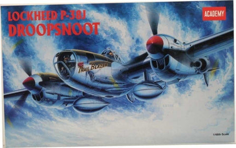Academy 1:48 Lockheed P-38 J P-38J DroopSnoot Plastic Aircraft Model Kit #2158 N/A Academy