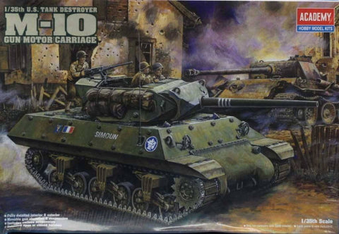 Academy 1:35 US Tank Destroyer M-10 Gun Motor Carrriage Plastic Model Kit #1393 N/A Academy