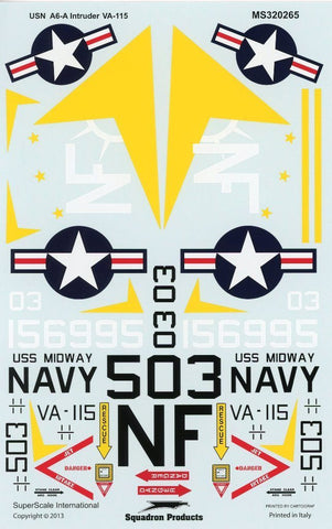 SuperScale Decals 1:32 USN A-6 A Intruder VA-115 Arabs USS Midway Navy #MS320265 N/A SuperScale_Decals