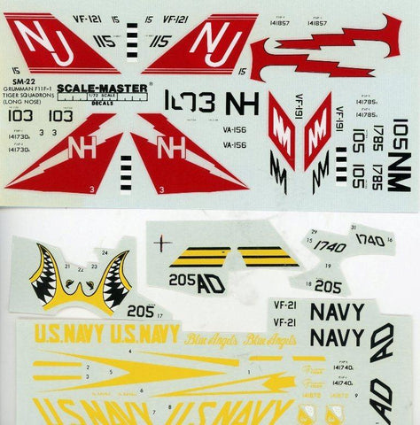 Scale Master Decals 1:72 Grumman Tiger F11F-1 Squadrons Decal Sheet #SM-22U N/A Scale_Master_Decals