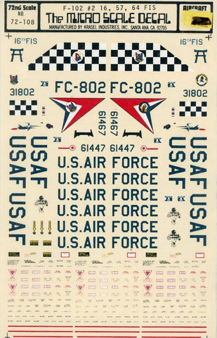 Microscale Decals 1:72 F-102 #2 16th, 57th 64th FIS #72-108U N/A Microscale_Decals