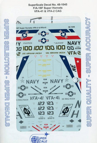 SuperScale Decal 1:48 F/A-18F F-18F Super Hornet VFA-41 & VFA-2 CAG #48-1045 N/A SuperScale_Decal