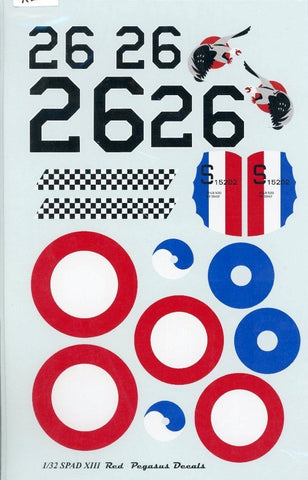 Red Pegasus Decals 1:32 SPAD XIII Decal Sheet N/A Red_Pegasus_Decals
