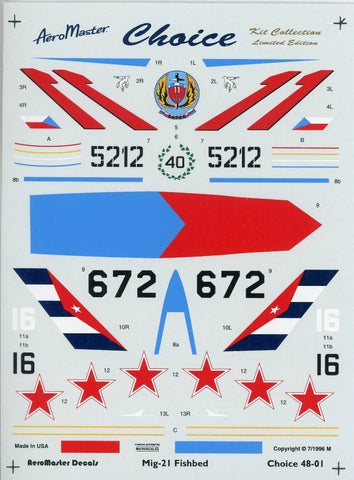 Aero Master Decals 1:48 Mig-21 Fishbed Decal PE Detail Set #48-01U N/A Aero_Master_Decals