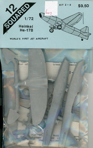 12 Squared 1:72 Heinkel He-178 World First Jet Aircraft Resin Detail Set #2-5 N/A 12_Squared