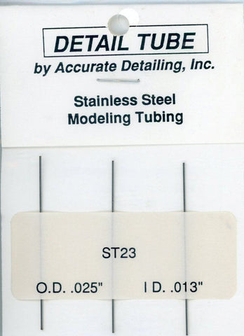 "Accurate Detailing Stainless Steel Modeling Tubing O.D 0.025"" I.D 0.013"" #ST23 N/A Accurate Detailing"