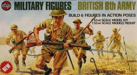 Airfix 1:32 54mm Military Figures British 8th Amry Plastic Figure Kit #03580-0U N/A Airfix