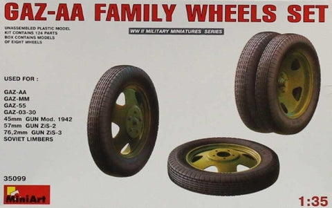 MiniArt 1:35 Gaz-AA Familiy Wheels Set Plastic Model Accessory #35099U N/A Miniart