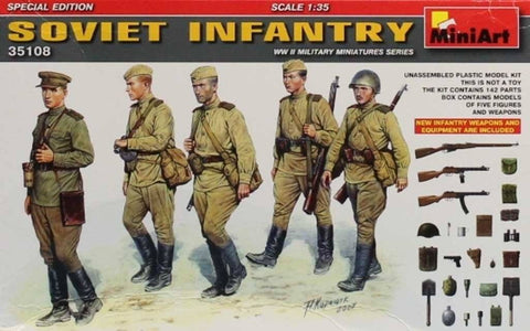Miniart 1:35 Soviet Infantry w/ Weapons & Equipment Plastic Figure Kit #35108U N/A Miniart