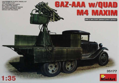 MiniArt 1:35 GAZ-AAA w/ Quad M4 Maxim Plastic Model Kit #35177 N/A Miniart