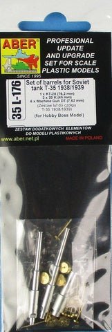Aber 1:35 Set of Barrels for Soviet Tank T-35 for Hobby Boss Detail Set #35L-176 N/A Aber