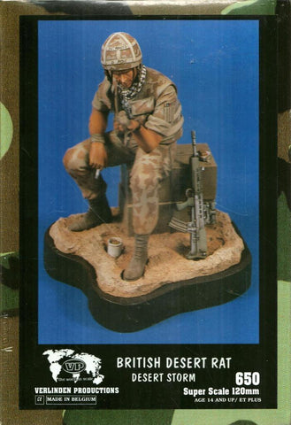 Verlinden 120mm 1:16 British Soldier Rat Desert Storm Resin Figure Kit #650 N/A Verlinden