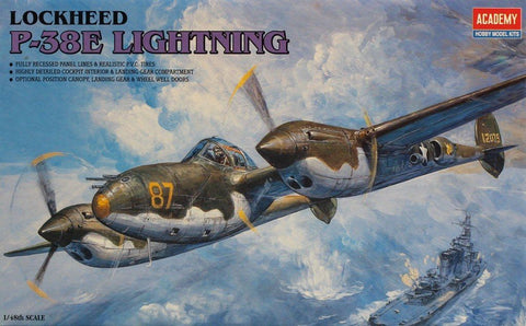 Academy 1:48 Lockheed P-38 E Lightning Plastic Model Kit #2144X N/A AFV_Club
