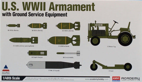 Academy 1:48 US WWII Armament w/ Ground Service Equipment Model Kit #12291 N/A AFV_Club