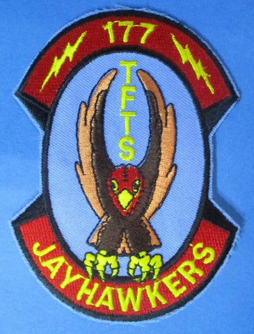 "177 TFTS Jay Hawkers 3 1/8"" x 4 1/8"" Shoulder Patch N/A OEM"