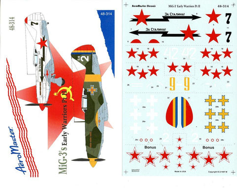 Aero Master Decals 1:48 MiG-3's Early Warriors Part II Decal Set #48-314 N/A Aero Master Decals