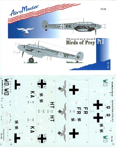 Aero Master Decals 1:72 Nocturnal Birds of Prey Bf 110 Pt 1 #72-142 N/A Aero Master Decals