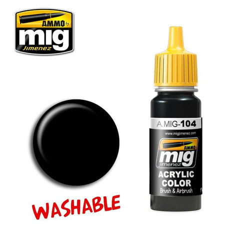 Washable Black acrylic color is a special formula designed for a wide range of effects. Create the appearance of chipped and worn black, as well as shading and weathering effects. Ideal for the Black & White technique. This paint is acrylic and formulated for maximum performance both with brush and airbrush.