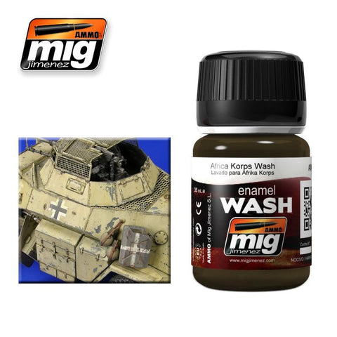 D.A.K. wash for Africa Corps vehicles, also other light colored desert vehicles. Apply on details and remove excess with a clean brush moist with Enamel Thinner.