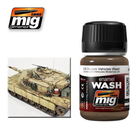 Dirt color wash specifically suited for use over Modern US sand colored vehicles. Apply on details and remove excess with a clean brush moist in Enamel Thinner.