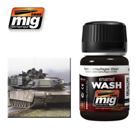 Enamel wash ideally matched for use over NATO and other dark camouflage schemes. Apply on details and remove excess with a clean brush moist with Enamel Thinner.