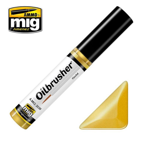 Ammo of Mig Oilbrusher Gold - Oil Paint with Fine Brush Applicator #3539 N/A Ammo of Mig Jimenez