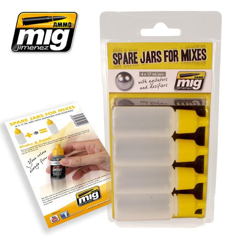 Save your paint mixtures in these jars easily and effectively. The pack contains 4 boxes of 17 mL ready to use. Each jar includes a steel agitator to help mix the colors and a dispenser for easy use.