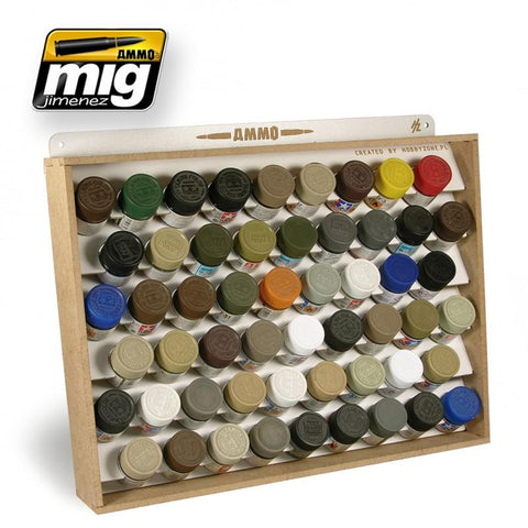 Shelves optimized to store 54 individual jars of Tamiya / Mr Color style 10ml (1/3 oz), 34 millimeters wide bottles in the smallest possible space.