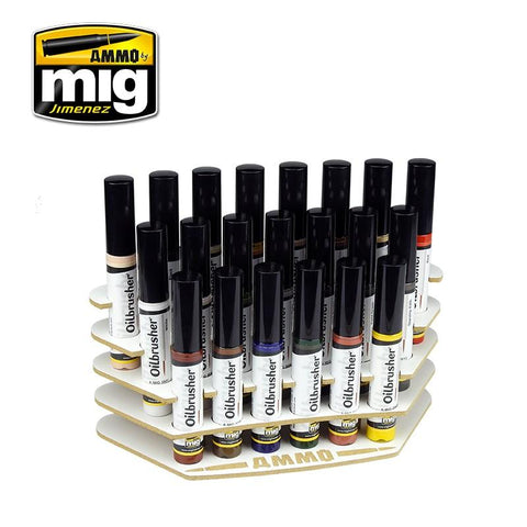 The easiest way to organize our range of Oilbrushers in your workbench for the specific requirements of each project.  Oilbrushers Workbench Organizer includes 21spaces for Oilbrushers 10 mL jars.