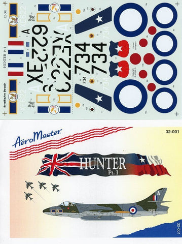 Aero Master Decals 1:32 Hunter Pt. I Decal Sheet #32-001 N/A Aero Master Decals