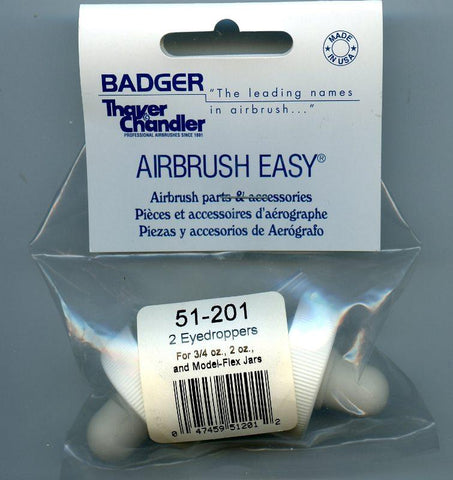 Badger Airbrush EyeDropper for 3/4 Oz 2 Oz and Model Flex Jars  2 per package #BDGR51201