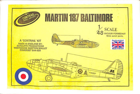 Contrail 1:48 Martin 187 Baltimore Vacuform w/ Metal Parts Model Kit #76