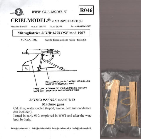 Criel Model 1:35 Mitragliatrice Schwarzlose m.1907 model 7/12 Machine Guns #R046 N/A Criel Model