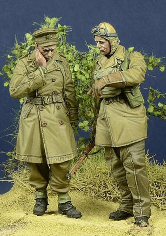 D-day Miniature 1:35 WWII BEF Officer & Dispatch Rider 2 Figures Kit #35094 N/A D-day Miniature