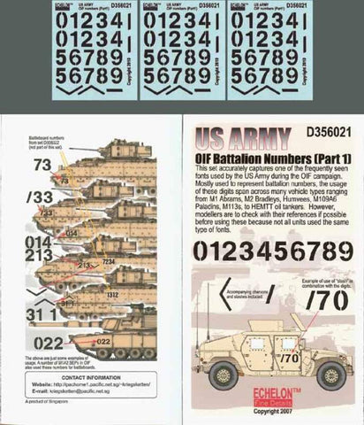 Echelon Fine Decal 135 Us Army Oif Battalion Numbers Part 1 D356021 Lots Of Models