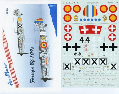 Aero Master Decals 1:48 Foreign Bf-109s Decal Set #48-310 N/A Aero Master Decals