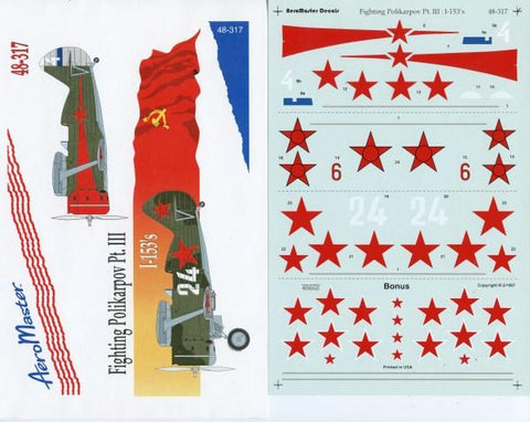 Aero Master Decals 1:48 Fighting Polikarpov I-153's, Part III Decal Set #48-317 N/A Aero Master Decals