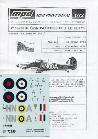 "Mini Print Decals 1:72 Hawker Hurricane Mk.I ""HESS"" (1940) #72555 N/A Mini Print Decals"