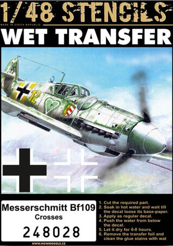 HGW 1:48 Messerschmitt Bf-109 Crosses Wet transfer Detail Set #248028 N/A HGW Models