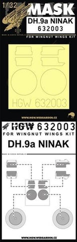 HGW 1:32 DH.9a Ninak for Wingnut Wings Kit - Paint Mask Detail Set #632003 N/A HGW Models