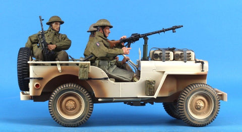 "GI Joe 1:6 12"" WWII British Commando Jeep w/ 3 British Desert Rat figures Built N/A GI_Joe"
