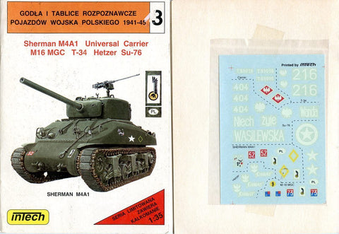 Intech 1:35 Sherman M4A1 Universal Carrier M16 MGC T-34 Hetzer Su-76 Decal  #3