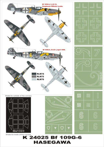 Montex Super Mask 1:24 Bf-109 G-6 #2 for Trumpeter Spraying Stencil #K24025 N/A Montex Mask