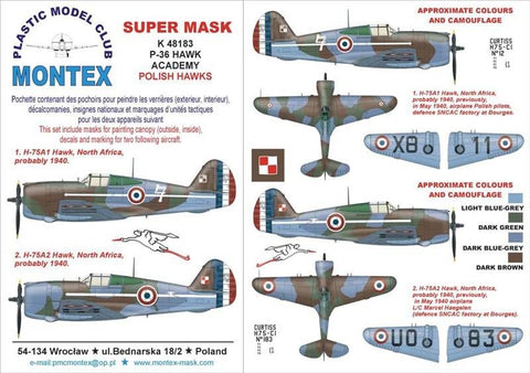 Montex Super Mask 1:48 P-36 Hawk for Academy Kit Spraying Stencil #K48183 N/A Montex Mask