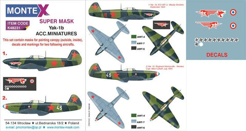 Montex Super Mask 1:48 Yak-1 b for Accurate Miniatures Kit #2 Spraying #K48231 N/A Montex Mask