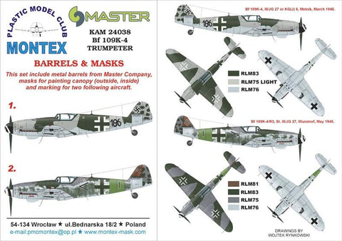 Montex KAM 1:24 Bf-109 K-4 #2 for Trumpeter Mask+Metal Part #KAM24038 N/A Montex Mask