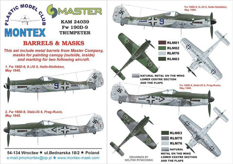 Montex KAM 1:24 Fw-190 D-9 #3 for Trumpeter Mask+Metal Part #KAM24039 N/A Montex Mask