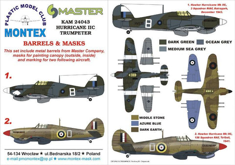Montex KAM 1:24 Hurricane II C #1 for Trumpeter Mask+Metal Part #KAM24043 N/A Montex Mask